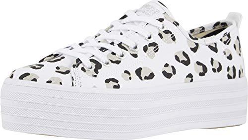 Keds Women's Triple Up Leopard Sneaker, White/Black, 11