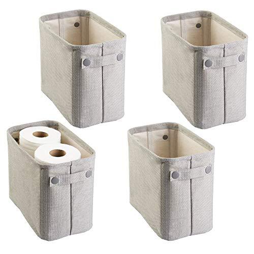mDesign Juego de 4 organizadores de tela de algodón para guardar papel higiénico – Organizadores de revistas, diarios, toallas y más – Elegantes cestas para el baño y para el salón – gris claro
