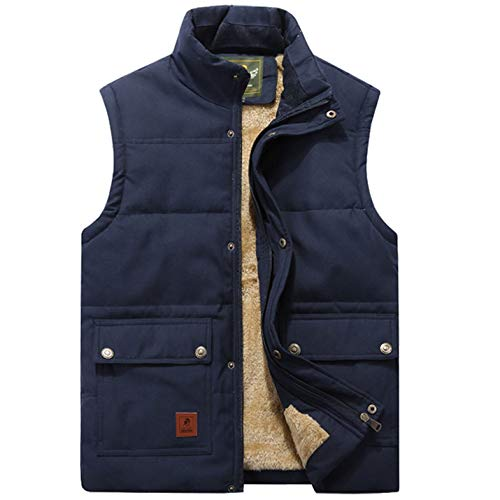 Flygo Men's Winter Warm Outdoor Padded Puffer Vest Thick Fleece Lined Sleeveless Jacket (Style 02 Blue, Large)