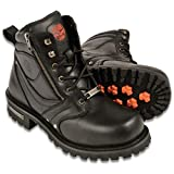 Milwaukee Leather MBM9050 Men's Black 6 inch Lace-Up Boots with Zipper Closure - 10.5