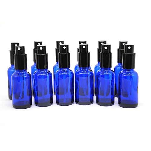 Nealan Botella de cristal vacía con pulverizador, 30 ml, perfume, masaje, efecto químico (12, azul)