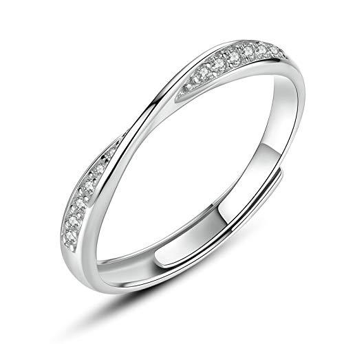 MF.CHAMA Ringe Silber 925 Paar Verstellbar Möbius-Ring Zirkonia