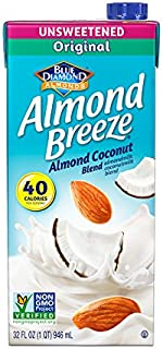 Almond Breeze Dairy Free Almondmilk Blend, Unsweetened Almond Coconut Original, 32 Ounce (Pack of 12)
