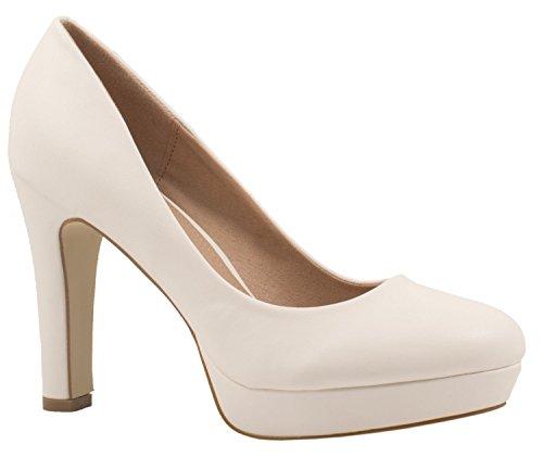 Elara Zapato de Tacón Alto Mujer Plataforma Chunkyrayan Blanco E22321-Weiss-38