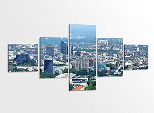 Leinwandbild 5 tlg. 200cmx100cm Skyline Dortmund Stadt Bilder Druck auf Leinwand Bild Kunstdruck mehrteilig Holz gerahmt 9AB375