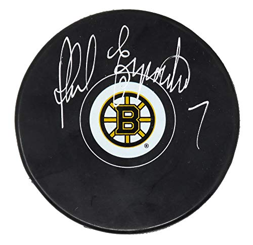 Phil Esposito Signed Bruins Logo Hockey Puck - Schwartz Authentic