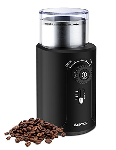 Coffee Grinder, Stainless Steel Blade Grinds Coffee Beans, Grains and Nuts, Electric Grinder 5 Stalls 4 Cups Optional