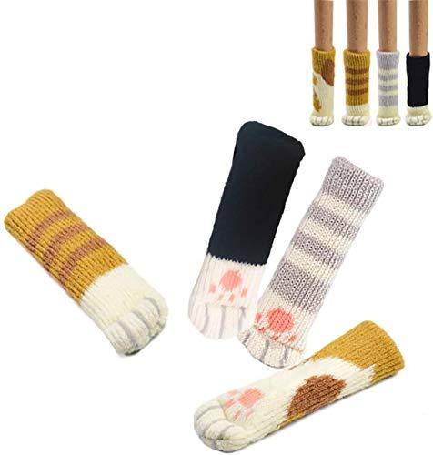 16 Stuhl Socken (4 Sets) – Fancy Tischbein mit Cute Cat Paws Design – zuverlässige Möbel & Boden Displayschutzfolie – 16 Stück Socken