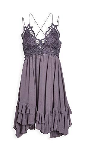 Free People Women's Adella Slip Dress, Charcoal, Grey, Medium