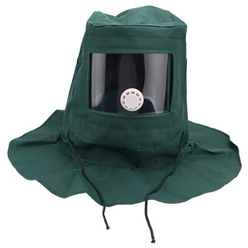 Capuchón de capó de arenado, casco de arenado, gorra de chal, capó, antipolvo, herramienta de protección antiviento para la pulverización con arco de arena (verde oscuro)