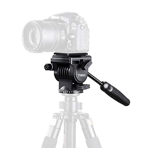"""TYCKA Fluid Video Tripod Head Camera Fluid Drag Pan Head with Quick Release Plates 1/4"""" and 3/8"""" Screws Mounting for DSLR Cameras, Camcorder, Monopod and Tripods"""