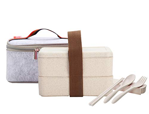 ArderLive Stackable Bento Lunch Box, Wheat Straw Portable Leakproof All-in-one Lunch Container with Lunch Bag, Eco-Friendly Food Storage Container, Microwave/Dishwasher/Freezer Safe. (Beige)