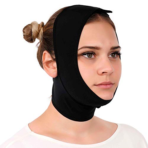 Post Surgery Neck and Chin Compression Garment Wrap Bandage for Women, Face Slimmer, Jowl Tightening, Neck Coverage, Chin Lifting Strap (Black, M)