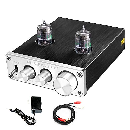 FX-AUDIO TUBE-03 Tube Preamp GE5654 Tube Hi-Fi Tube Preamplifier with Bass & Treble Control Home Theater Stereo Audio Preamplifier DC 12V (Silver)