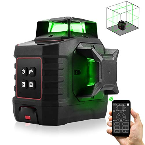 Laser Level with Bluetooth ZOTO Self Leveling with LCD Screen3x360 °Adjustable Rotary Cross Laser Line with 4000mAh Rechargeable Battery Pivoting Base Aluminum Protection Case