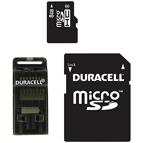 of duracell micro sd cards Duracell Du-3In1-08G-R Class 8 8 GB MicroSD Card with Universal Adapter (DU-3IN1-08G-R)