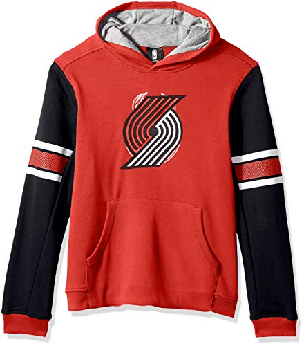 """NBA by Outerstuff NBA Youth Boys Portland Trail Blazers """"Man in Motion"""" Color Blocked Pullover Hoodie, Red, Youth Large(14-16)"""