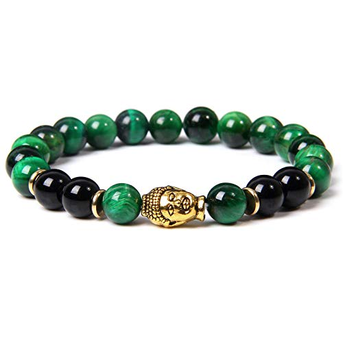 Handmade Stretch Stone Bracelets Gold Buddha Head Charm Elastic Bracelet Men Classic Natural Royal Blue Tiger Eye Bangle Black Onyx Beads Gold Spacer Bracelet Jewelry For Women Gift,Green Tiger Eye,21