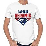 Captain Ceramic Mallorca Malle Party JGA Fete Party Comedy Funny Fun T-Shirt,White,M