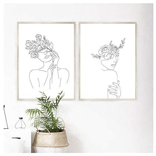 wekeke Cabeza de Flores de Mujer Lámina de una Sola línea Boceto de Cuerpo Femenino Cartel Línea mínima Arte Pintura de Lienzo Cuadro Decoración para el hogar/40X60Cmx2 Piezas Sin Marco