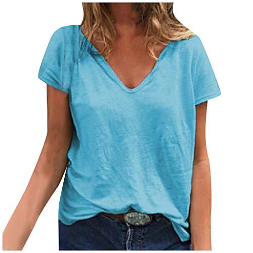 Nyuiuo Señoras Moda Casual Suelta Sexy con Cuello en V Color sólido de Manga Corta Camiseta Tops Verano Salvaje Camiseta al Aire Libre Camiseta