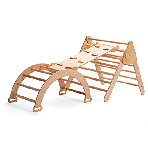 Daddy chef Triangle for Kids Toddlers Rock with ramp, Montessori Climber Ladder Slide, Learning Waldorf Climbing Toys, Arch Toy for Toddler Structure Rocking - Step 2 Climber for boy and Girl