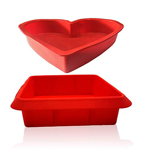 Silicone Heart Baking Cake Bakeware Brownie pan 95in Silicone Square Cake Baking Pan 8in DeepDish Roasting Lasagna and Casserole Baking Pan NonStick Easy Bread Pie Flan Tart Molds Set of 2Red