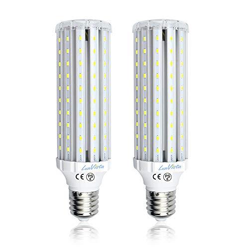LuxVista 2-Unidades E40 45W LED Bombilla de Luz Fría 6000K Luz de Maíz Con 4500lm Lumenes 360 Grados, Reemplazo de 400W Lámpara Halógena