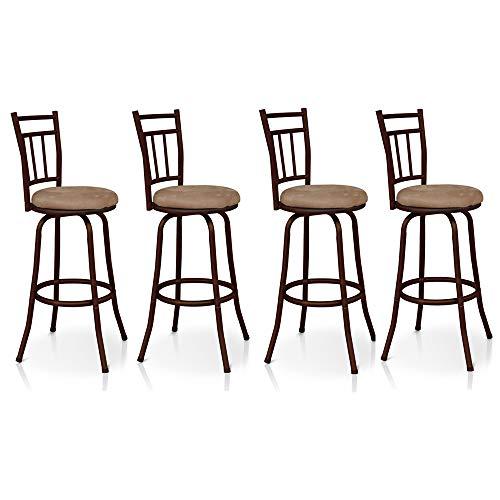 IKAYAA Sgabelli da Bar, Set 4 Sedie Industrial Sgabello Girevole Anticato con Schienale in Metallo Cornice Sedia da Cucina Pranzo Imbottita capacità 120KG (4 Pezzi)