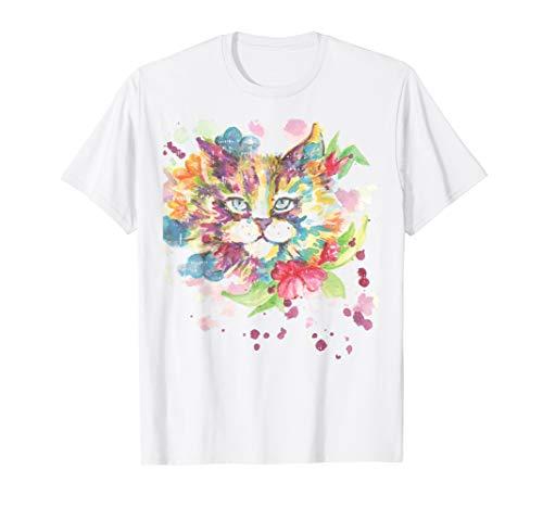 Aquarell Katzen Kostüm Süßes Lustiges Halloween Outfit T-Shirt