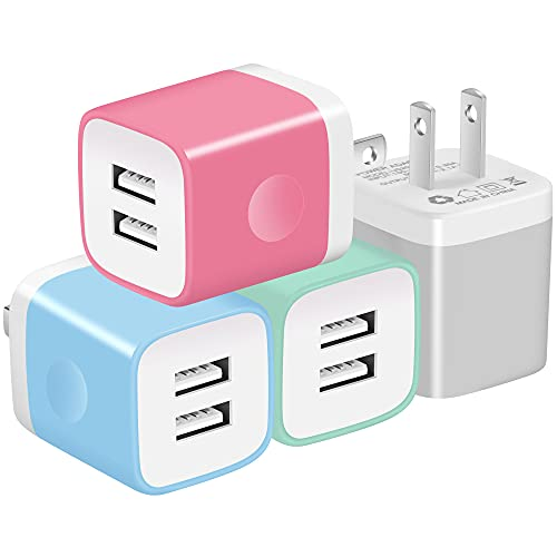 X-EDITION USB Charger Plug, 4-Pack 2.1A Dual Port USB Wall Charger Power Adapter Charging Block Cube Compatible with Phone Xs Max Xs XR X 8 7 6 Plus 5S, Samsung, LG, Moto, Android Cell Phones More