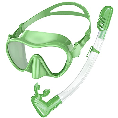 Rodicoco Kids Goggles Scuba Mask and Snorkel Set, Anti Fog Kids Swimming Goggles Anti Leak Snorkel Mask with Foldable Snorkel Gear, Dry-Top Anti-Splash Diving Mask for Swimming Pool/Snorkeling