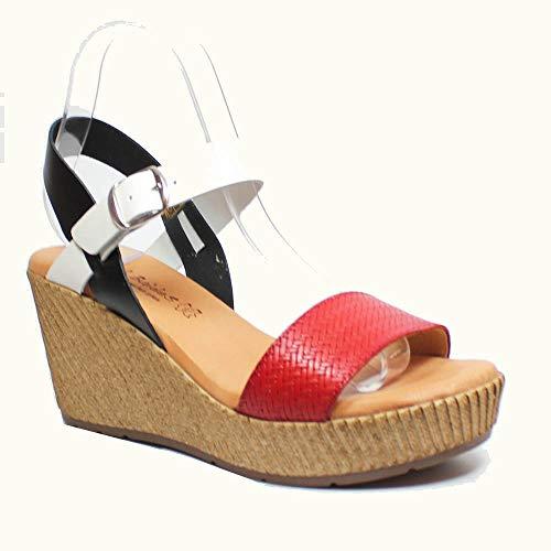 Sandalia de verano - Sandalia de cuña media-alta, en tonos negro, rojo...
