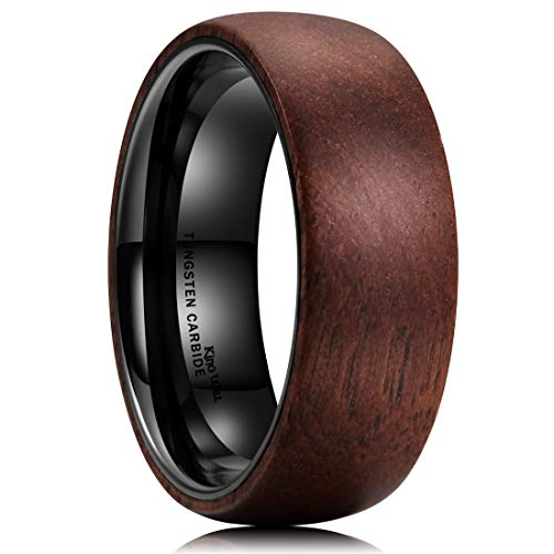King Will 8mm Tungsten Carbide Ring Dome Inner Hole Plated Black Inlaid with Wood Comfort Fit 12