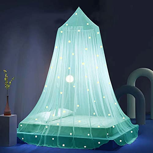 Stars Bed Canopy Glow in The Dark, Eimilaly Bed Canopy for Girls Mosquito Net, Princess Canopy for Girls Bed Room Decor, Green