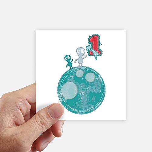DIYthinker Univers et Le Monstre Extraterrestre sur Terre Autocollant carré de 10 cm Mur Valise pour Ordinateur Portable Motobike Decal 8Pcs 10cm x 10cm Multicolor