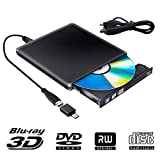 Unidad Externa de DVD BLU Ray 3D, USB 3.0 USB Tipo C Bluray CD DVD RW ROM Player Portátil para PC MacBook iMac Mac OS Windows 7/8/10 / Vista/XP