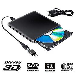 【Super rapide pour la lecture Blu ray DVD CD 3D】 Lecteur DVD Blu Ray lit les CD jusqu'à 24x, les disques DVD jusqu'à 8x et les disques Blu-Ray jusqu'à 6x. Le lecteur Blu-ray externe prend en charge les capacités de gravure de CD DVD normales 8,5 G 4,...