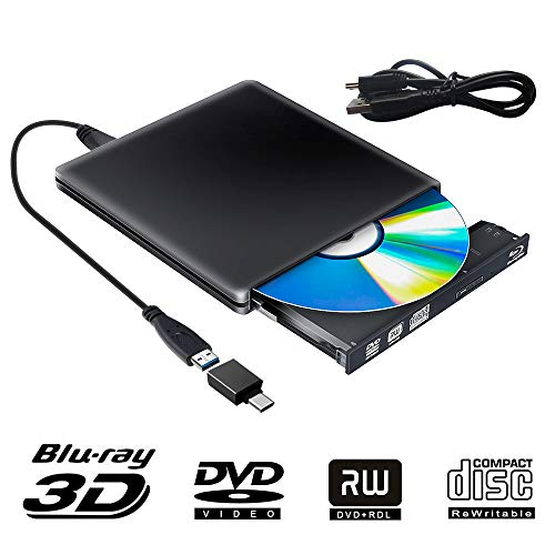 Externe Blu Ray DVD Laufwerk 3D, USB 3.0 USB Type C Bluray CD DVD RW Rom Player Tragbar für PC MacBook iMac Mac OS Windows 7/8/10/Vista/XP (Black)