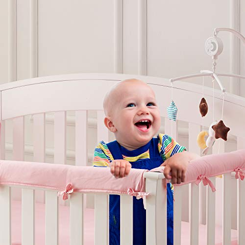 Sunstyle Home 3 Pieces Baby Crib Rail Cover Set, Safe Teething Guard Wrap for Standard Cribs, Soft Batting Padded Crib Rail Protector from Chewing, Suitable Front and Side Rails (Pink)