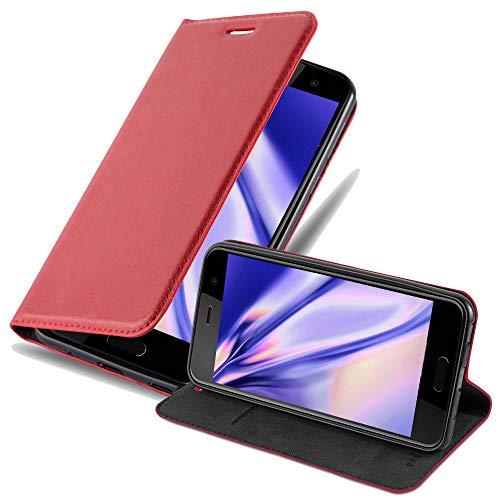 Cadorabo Hülle für HTC U Play - Hülle in Apfel ROT – Handyhülle mit Magnetverschluss, Standfunktion & Kartenfach - Hülle Cover Schutzhülle Etui Tasche Book Klapp Style