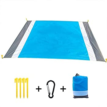 Airoads Beach Blanket Sand Proof Waterproof Beach Mat Quick Drying Portable Lightweight Outdoor Large Picnic Mat with 4 Tent Stakes for Camping Hiking Travelling Multicolor 83x79