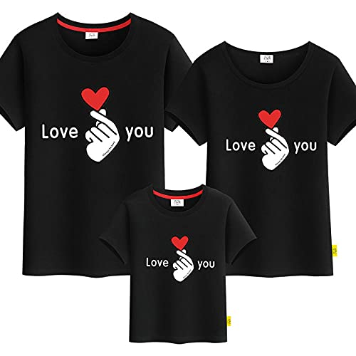 SANDA T-Shirt Adulto,Camiseta de Verano Evento Publicidad Camisa Cultura Camisa Clase Paño Camiseta de Manga Corta Padre-Hijo-Negro_Niños 130