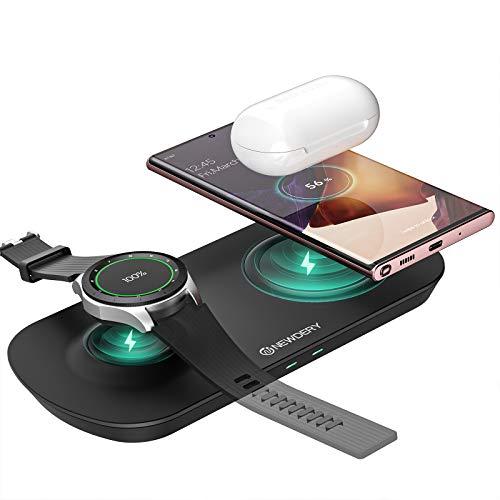 NEWDERY Cargador inalámbrico Rápido, Estación de Carga Rápida Qi Inalámbrica Soportes de Carga de para Galaxy Watch Active/Sport/Gear S3,Galaxy Buds, para Samsung/iPhone 12/11/11 Pro/X/XS MAX/Huawei