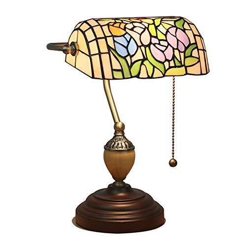 CCSUN Barroco Lámparas de mesa Vidrio Lámpara de la cabecera, E27 Tradicional Lámpara del banquero Retro Estilo tiffany Creativo Lámpara escritorio Madera Tire el interruptor-Tulipán 39cm(15in