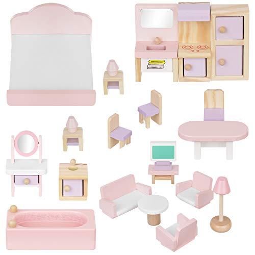 ISO TRADE Puppenmöbel Puppenhaus Zubehör Möbel aus Holz 22 Teile 11213