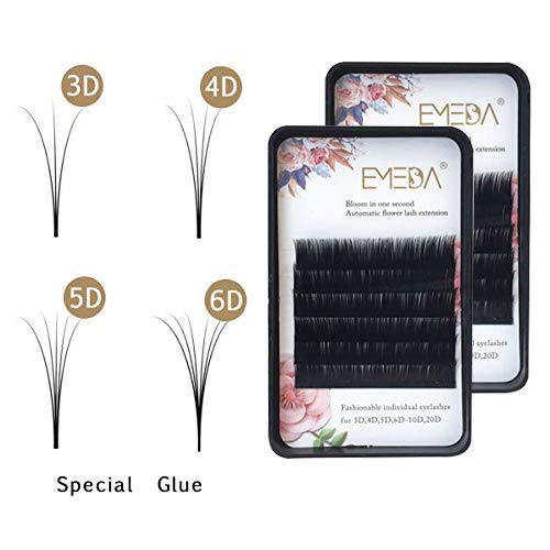 EMEDA 2 Tabletts Wimpern mit automatischem Blooming-Volumen 0,07 Dicke Schnelle blühende Wimper Lash Extensions 3D 5D 10D 20D Easy Fanning Volume Wimpern knotenfrei Wimper für Salon