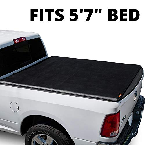 LEER ROLLITUP | Fits 2019+ Dodge Ram 1500 with 5.7' Bed | Soft Roll Up Truck Bed Tonneau Cover | 4R298 | Low-Profile, Sturdy, Easy 15-Minute Install (Black)