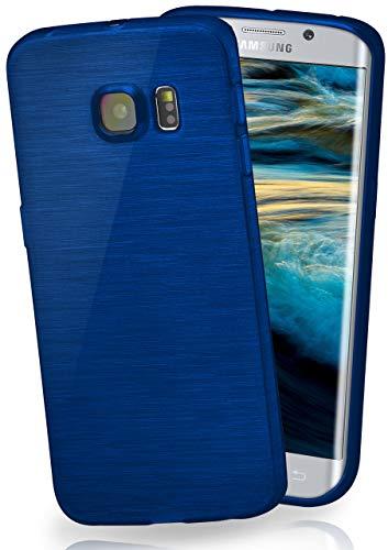 moex Stylische Brushed Aluminium-Optik und starker Grip | Ultra dünne Silikonhülle passend für Samsung Galaxy S6 Edge in Blau