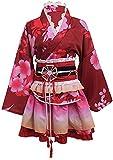 Double Villages Japanischen Stil Kimono Bademantel Kleid Anime Cosplay YUKATA Serie Japanischen Sommer Nette Mädchen Anime Cosplay Kostüme (Rot)